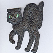 SALE Small - German made Black cat die cut 1920-30s Cute! Scary! Left face!