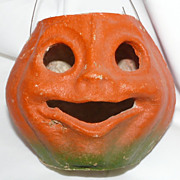 "SALE Vintage medium size Paper mache ""egg crate"" Smiling Jack O' Lantern pumpkin! 19"