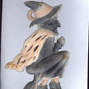 SALE Flying faded Black Witch on broom German die cut 1920's Rare