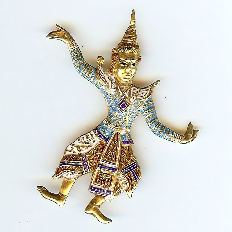 Multi-Color Enamel Sterling SIAM Dancer Pin 1940s
