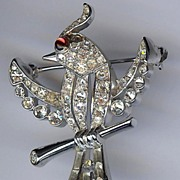SALE Trifari 'Alfred Philippe' Ruby-eyed Bird on Branch Pin
