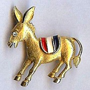 SALE Trifari brooch Patriotic Democratic Donkey Excellent!