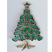 SALE Trifari 'Alfred Philippe' 'Modern Mosaics' Poured Glass Christmas tree Brooch