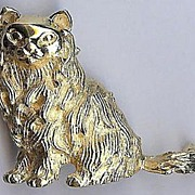 SALE Trifari Sitting Persian Cat Pin gold tone � 1970s