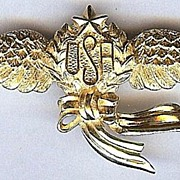 SALE Trifari USA Flying Wings Gold Color Patriotic Pin