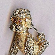 SALE Trifari Small size sitting Poodle breed Dog gold tone brooch Cute!