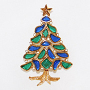 SALE Trifari 'Alfred Philippe' 'Modern Mosaics' Poured Glass Christmas tree Brooch - 1966