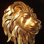 SALE Trifari Golden Lion head brooch excellent!