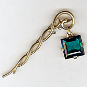 SALE Trifari 'Alfred Philippe' faux Emerald Pendant from Staff Pin 1950 - Excellent!