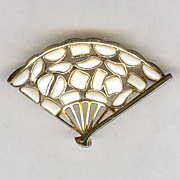 SALE Trifari - Modern Mosaiacs white poured glass Fan-Shaped Pin