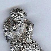 SALE Trifari Sitting Poodle Dog Pin silver tone