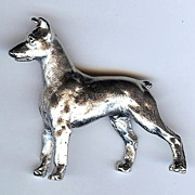 SALE Trifari Doberman pinscher breed dog silver  tone brooch