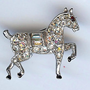 SALE Tiny sparkling prancing horse pin from Trifari