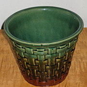 Large Early Hull Basket Weave Planter