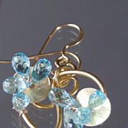 SOLD Clearance - Blue Topaz Briolette Drop Earrings