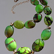 SOLD Genuine Green Chinese Turquoise Hand Knotted Necklace