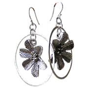 SALE Clearance- Large Silver Flower  Hoop Earrings