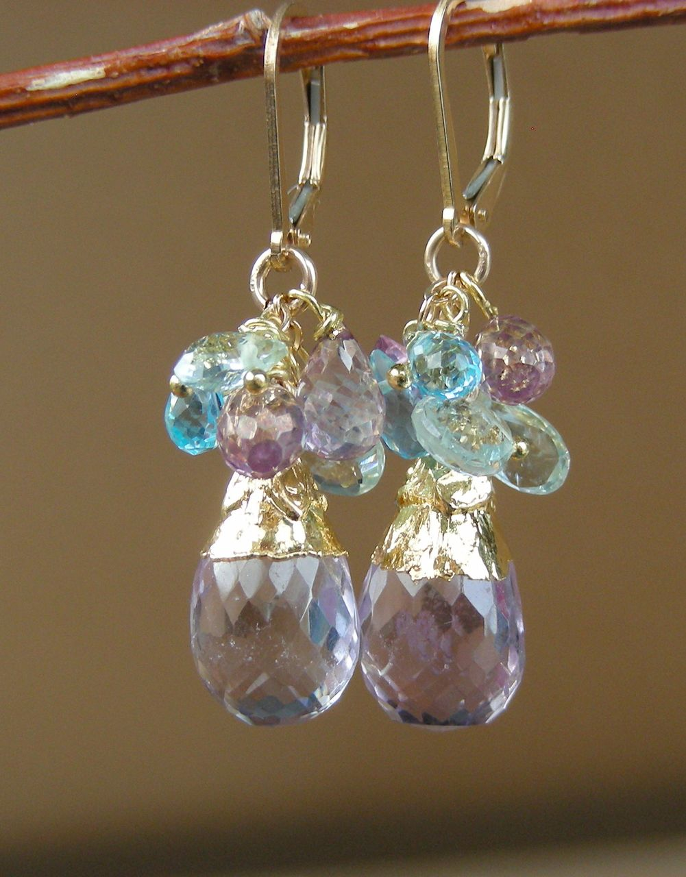 Aquamarine, Swiss Blue Topaz, Pink Amethyst, Baroque Briolette Earrings