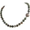 Rhyolite Hand Knotted Necklace with Pearl Clasp