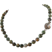 SALE Rhyolite Hand Knotted Necklace with Pearl Clasp