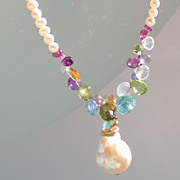 SALE Renaissance Baroque Flame Ball  Pearl, Peridot, Apatite, Citrine, Moonstone, Amethyst, Ga