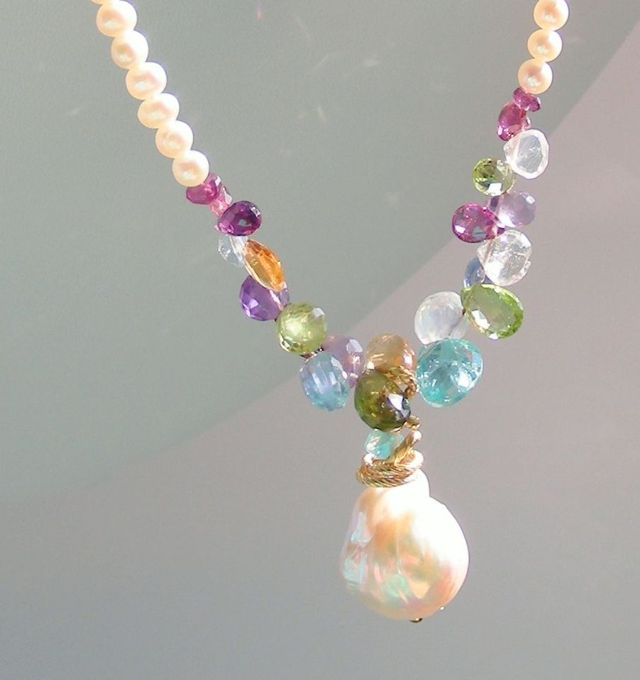 Renaissance Baroque Flame Ball  Pearl, Peridot, Apatite, Citrine, Moonstone, Amethyst, Garnet, Iolite Necklace