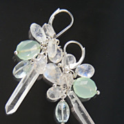 SOLD Clearance -Rock Crystal, Moonstone, Aquamarine,  Chalcedony  Earrings