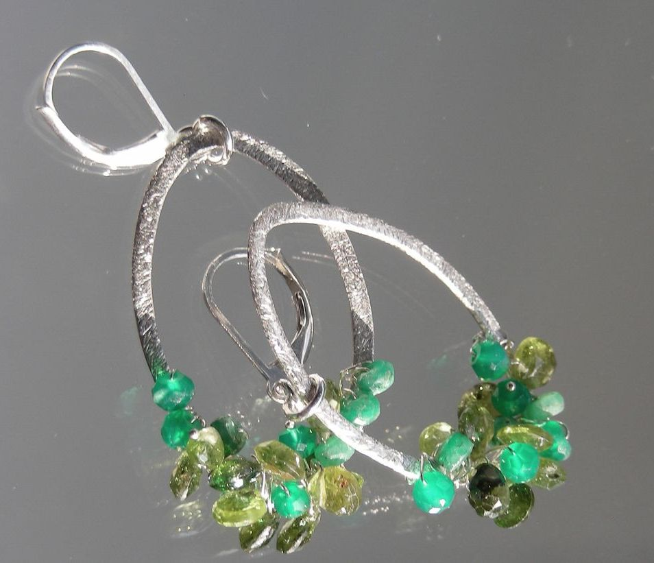 Emerald, Tourmaline, Peridot, and Green Onyx  Hoop Earrings