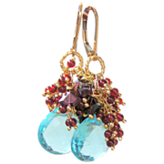 SALE Garnet and Sky Blue Hydro Quartz Briolette Waterfall Earrings