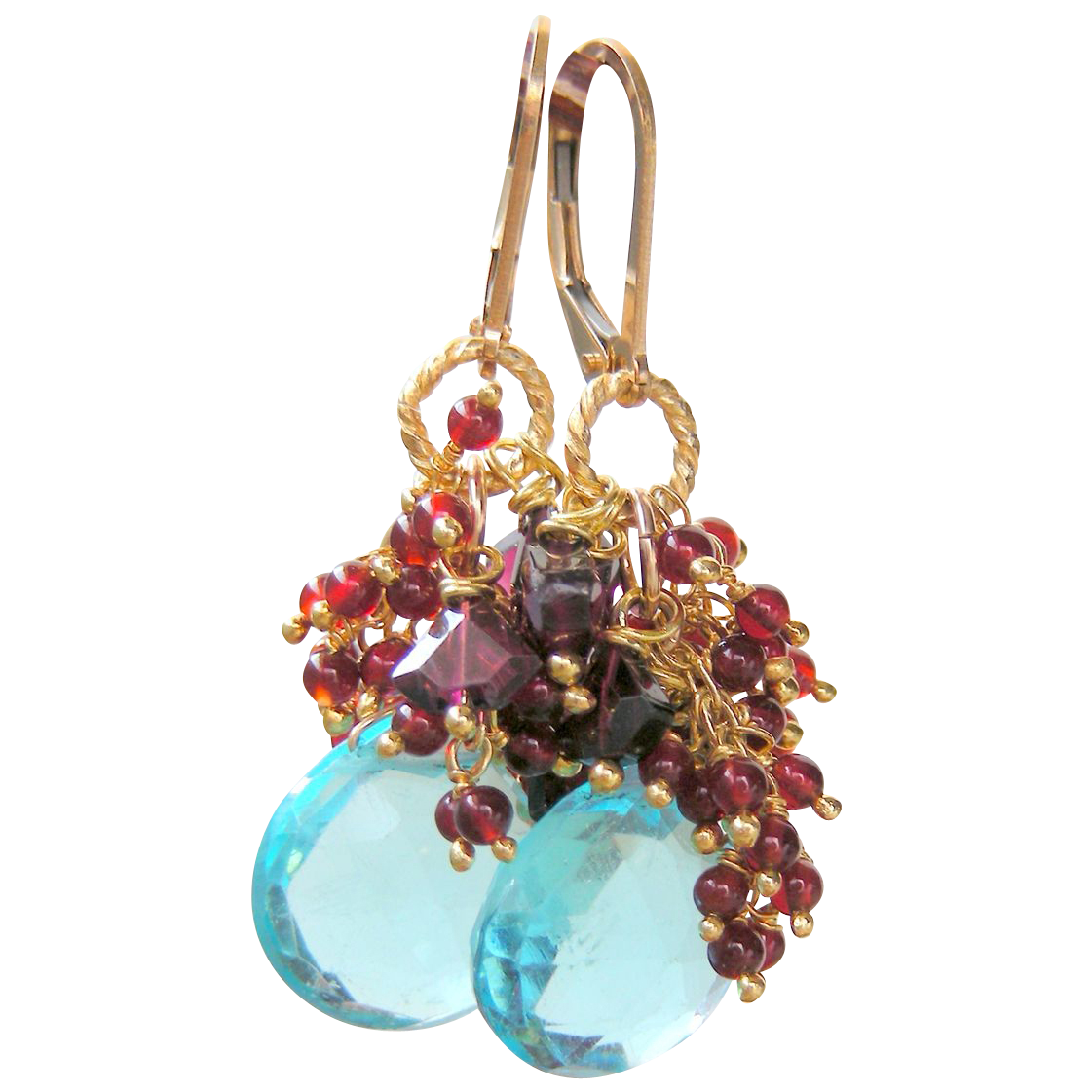 Garnet and Sky Blue Hydro Quartz Briolette Waterfall Earrings