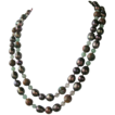 Clearance - Chocolate Pearls, Ryolite, Chalcedony, Lemon Quartz, Hand Knotted Long Necklace