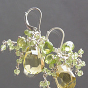 SOLD Lemon Quartz, Peridot Wire Wrapped Briolette Waterfall Earrings