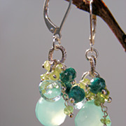 SOLD Clearance - Sea Green Chalcedony, Emeralds, Peridot, and Aquamarine Earrings