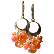 SALE RESERVED Citrine, Carnelian, Chalcedony Contemporary Earrings