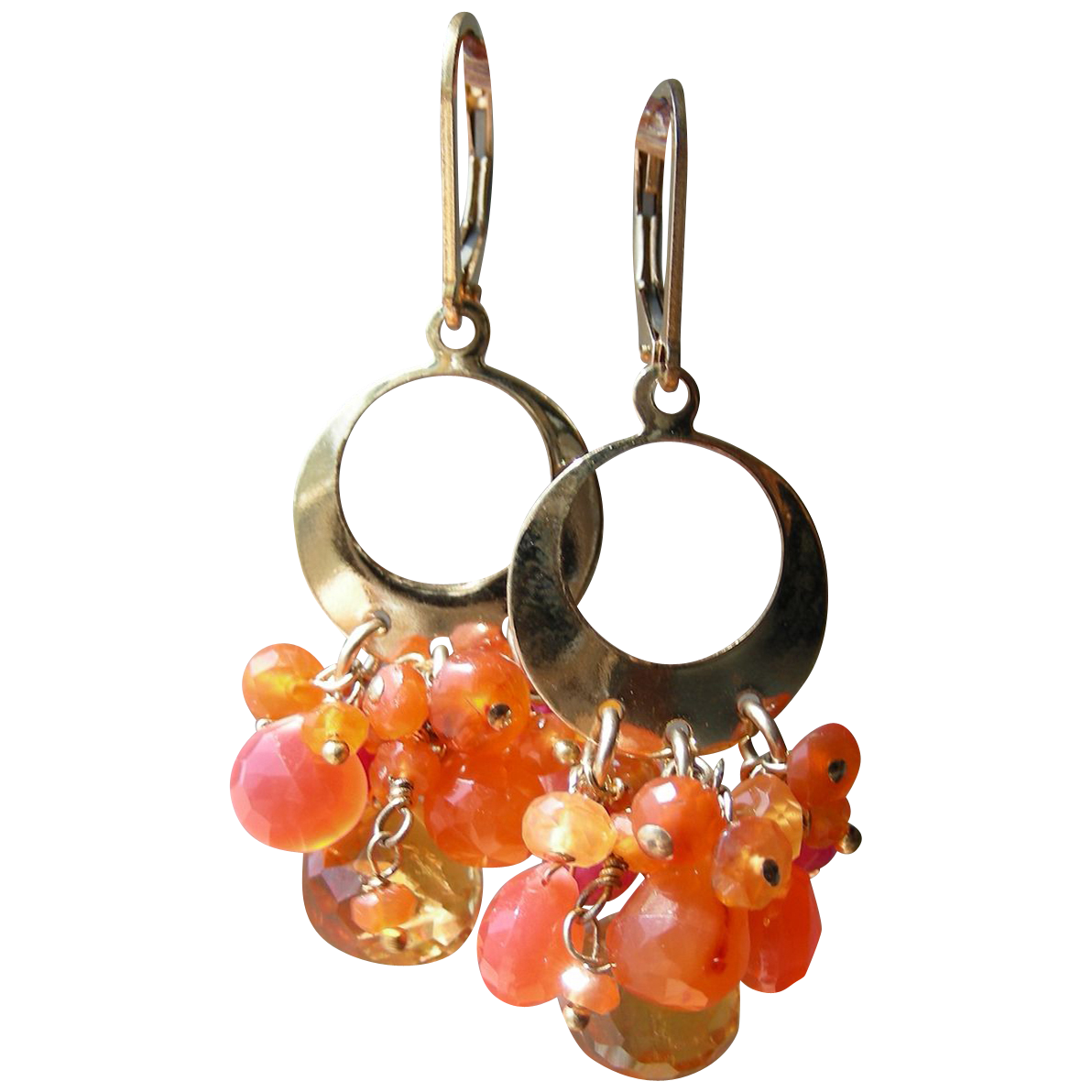 Citrine, Carnelian, Chalcedony Contemporary Earrings