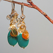 SOLD Citrine, Lemon Quartz, Hessionite Garnet, Pyrite, Turquoise Waterfall Earrings