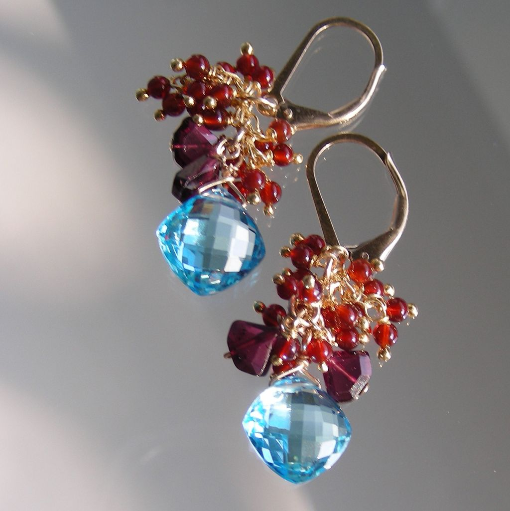 Swiss Blue Topaz and Garnet Cascade Earrings
