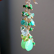 SALE Chrysoprase, Blue Topaz, Malachite, Apatite  Briolette Earrings
