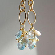 SALE Blue Topaz Briolette and Keishi Pearl Drop Earrings