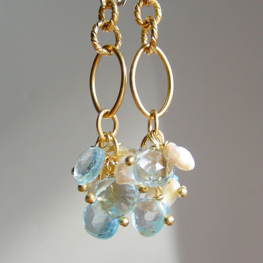 Blue Topaz Briolette and Keishi Pearl Drop Earrings