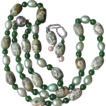 "Rhyolite, Green Pearls, Chinese Jade Hand Knotted 28"" Long Necklace"