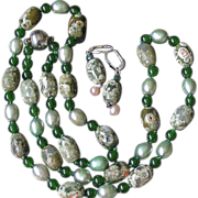 "SALE Rhyolite, Green Pearls, Chinese Jade Hand Knotted 28"" Long Necklace"