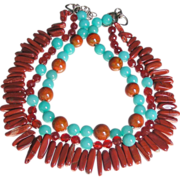 SALE Clearance - Porcelain, Amazonite, Agate, and Red Sandstone Jasper Necklace