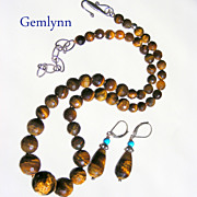 SALE Clearance- Tiger Eye Hand Knotted Necklace with Matching Earrings