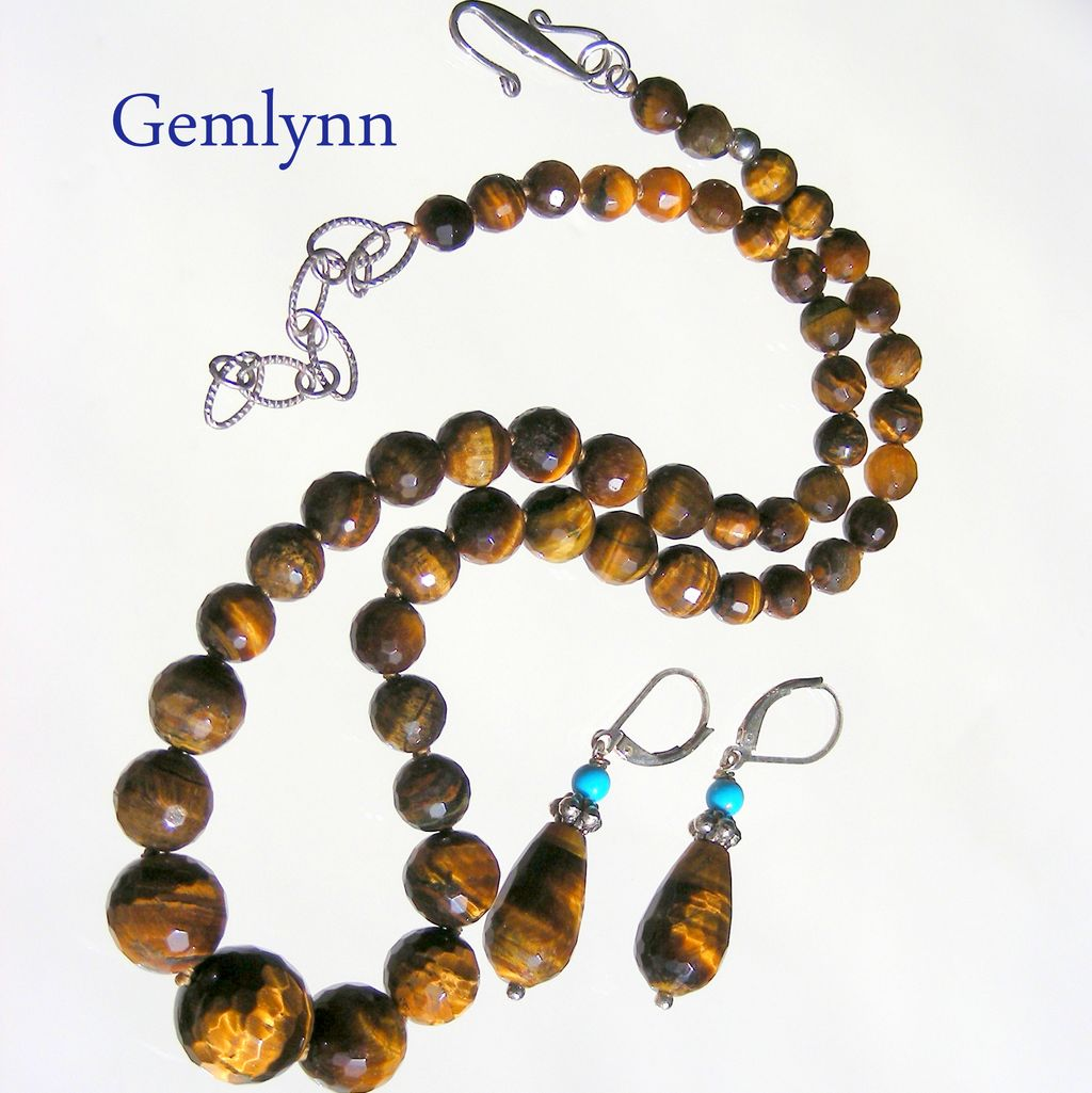 Clearance- Tiger Eye Hand Knotted Necklace with Matching Earrings