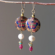 SOLD Cloisonne Butterfly, Pearl, and Agate Earrings
