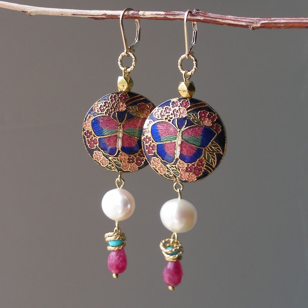 Cloisonne Butterfly, Pearl, and Agate Earrings