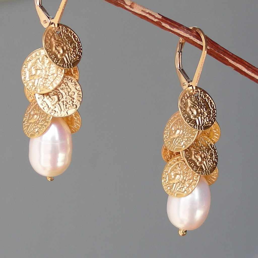 Baroque Pearl and Coin Discs Cascade Earrings