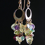 SOLD Peridot, Amethyst, Blue Topaz, Garnet, Lemon Quartz  Cascade Earrings