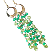 SALE Peridot and Emerald Green Onyx Fringe Earrings